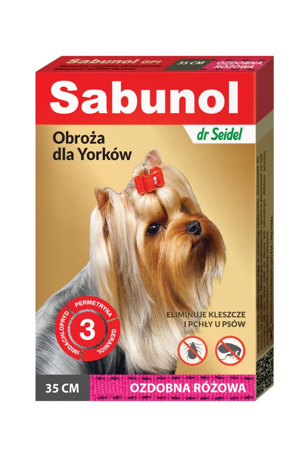 Sabunol GPI Obroża Ozdobna Różowa dla Psa Przeciw Pchłom i Kleszczom 35 cm