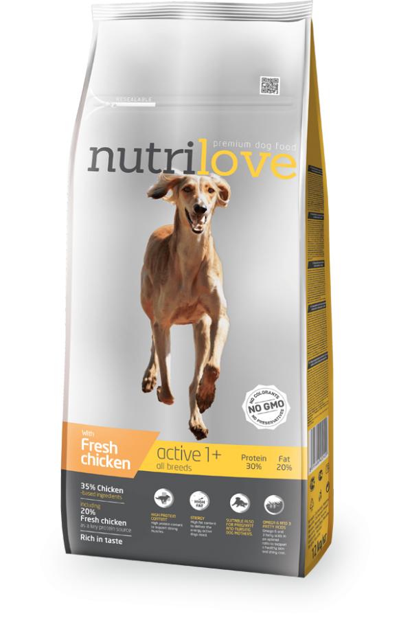 Nutrilove Active ze Świeżym Kurczakiem Pies Aktywny 12 kg