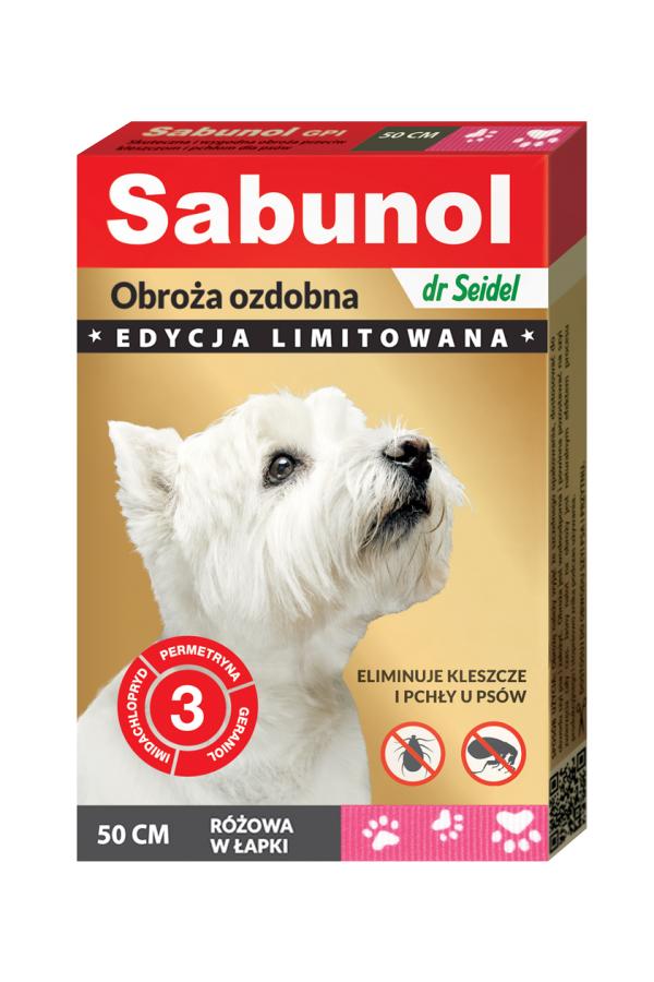 Sabunol GPI Obroża Ozdobna Różowa w Łapki dla Psa Przeciw Pchłom i Kleszczom 50 cm
