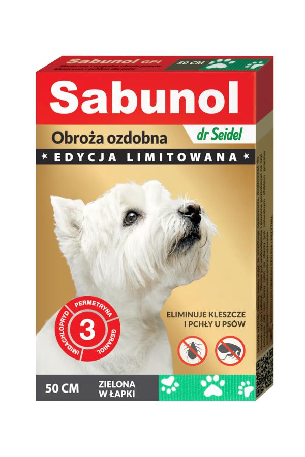 Sabunol GPI Obroża Ozdobna Zielona w Łapki dla Psa Przeciw Pchłom i Kleszczom 50 cm