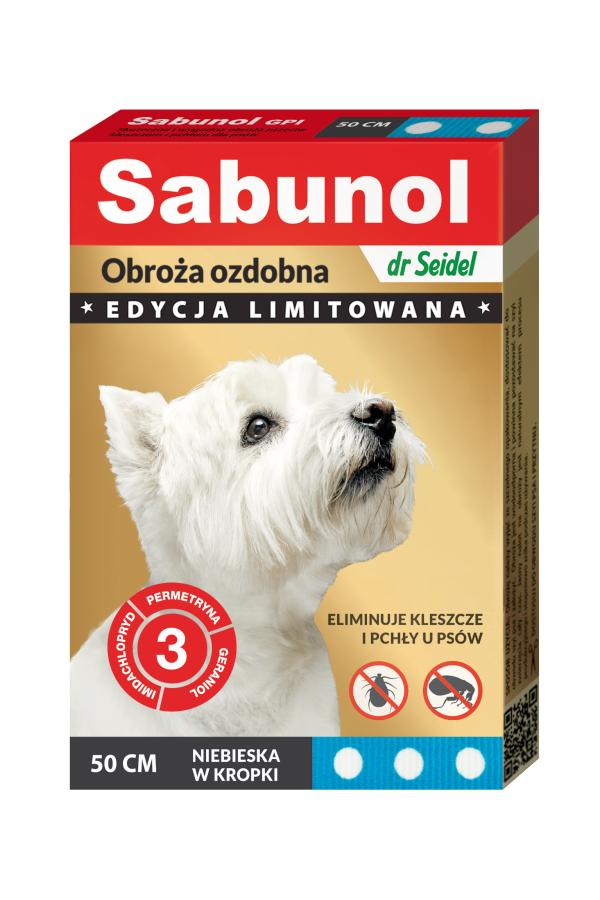 Sabunol GPI Obroża Ozdobna Niebieska w Kropki dla Psa Przeciw Pchłom i Kleszczom 50 cm