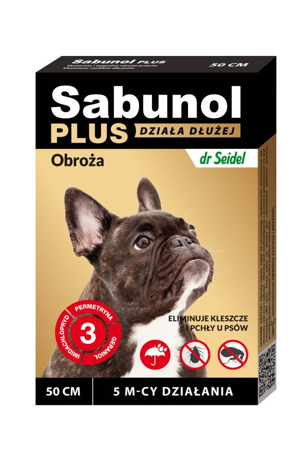 Sabunol Plus Obroża dla Psa Przeciw Pchłom i Kleszczom 50 cm - Działanie do 5 miesięcy