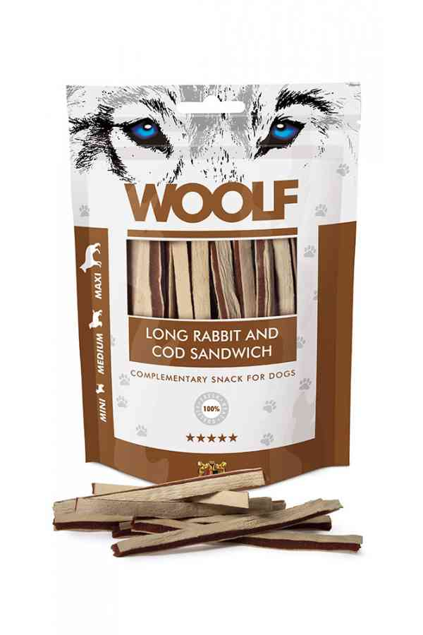 WOOLF LONG RABBIT AND COD SANDWICH 100G 1034