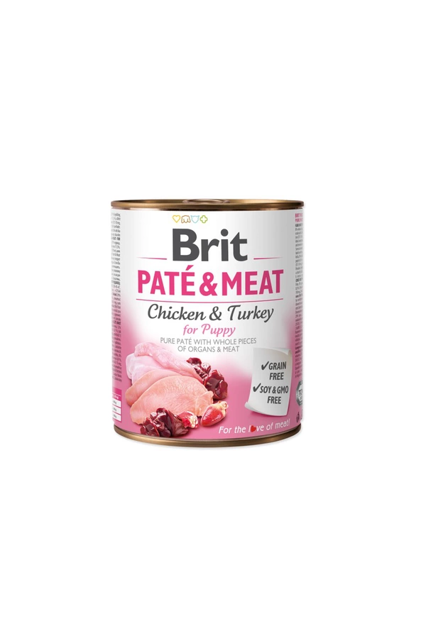 Brit Pate & Meat Chicken & Turkey For Puppy Szczenięta 800 g